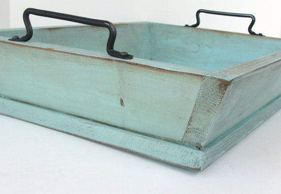 Robin Egg Blue Tabletop Tray Shabby Cottage Serving Wooden Tray for Beach Entertaining