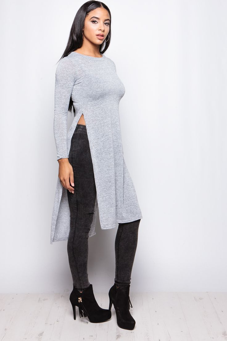 Valentina Grey Split Side Jumper at misspap.co.uk
