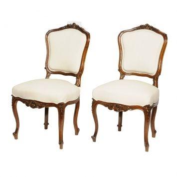Conjunto com 2 Cadeiras Baixas Luis XV