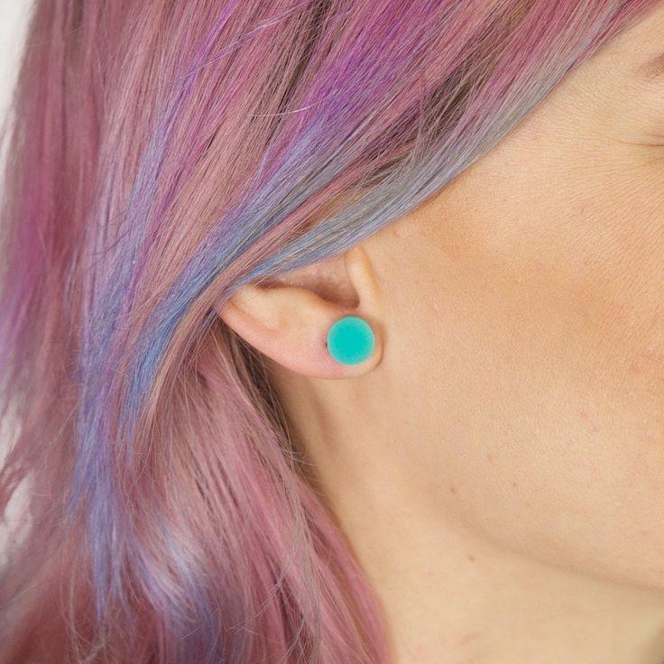 Amindy  - GEO - Circle Earring Studs - Aqua Green - $15 - Shop online at www.amindy.com.ay