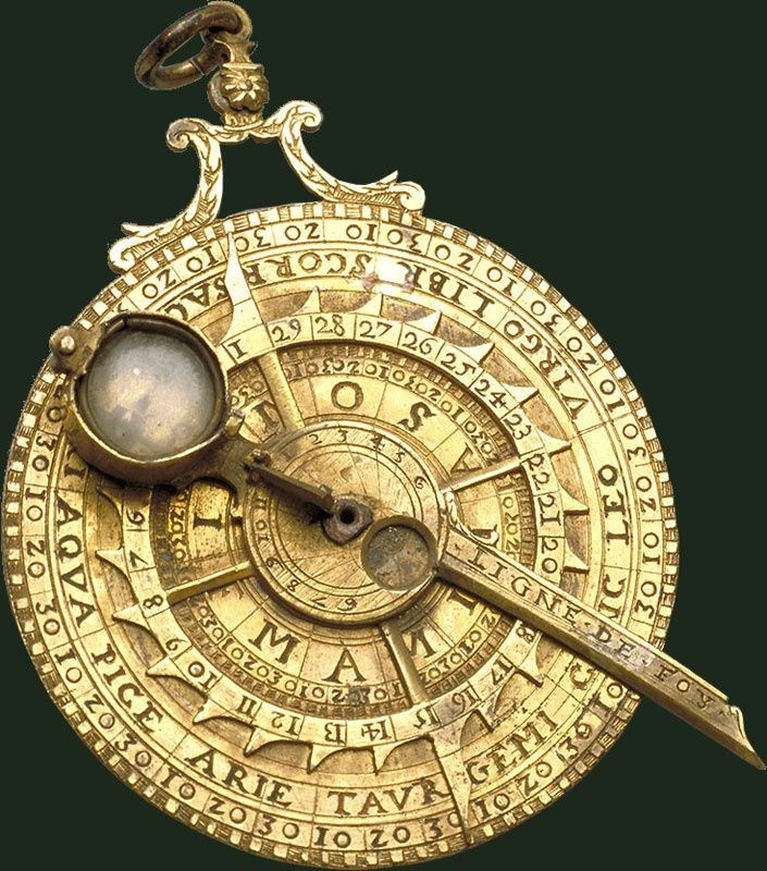 Nocturnal, Italy, 17th century. A nocturnal is an instrument used to determine the local time based on the relative positions of two or more stars in the night sky [705x800