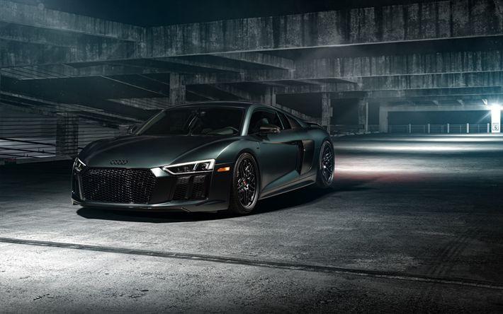 Descargar fondos de pantalla Audi R8, 2017, coches deportivos, tuning R8, Vossen wheels, negro R8, garaje, coches alemanes, el Audi