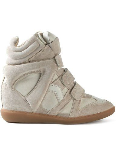'Nude suede�toile 'Beckett' sneakers from Isabel Marant featuring a round toe, velcro fastenings, a padded ankle, a concealed wedge heel and a flat rubber sole.'