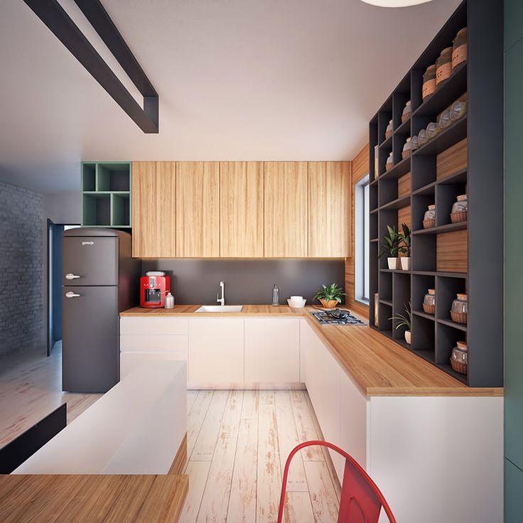 """COZINHA - Apartamento de 35 metros quadrados """"Este apartamento é super organizado e com uma planta bem resolvida. A divisão dos cômodos é feita de maneira bastante inteligente, como um painel no centro, que separa a sala de estar e o quarto da cozinha e da sala de jantar. O colorido, principalmente o verde, dá um toque alegre e moderno ao apartamento."""" Arquiteto: Nikola Kungulovski Veja Mais em: www.limaonagua.com.br"""