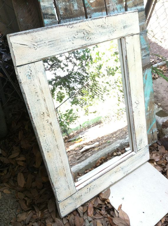 white distressed barn wood frame 20x27 mirror on etsy 6000