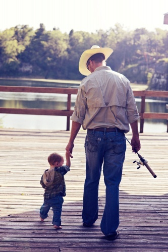 Daddy and son going fishing!! It will be fun teaching him like my dad taught me!