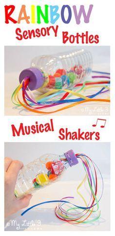 Regenboog muziekflesjes. Gemakkelijk zelf te maken. Gebruik verschillende gekleurde materialen voor in de flessen. Schudden maar!  Fijne motoriek, waarnemen en geheugen, verstandelijke ontwikkeling en creatief denken stimuleren.