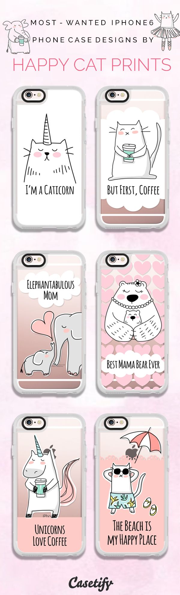 Top 6 iPhone 6 protective phone case designs by Happy Cat Prints | Click through to see more iPhone phone case idea. >>> https://www.casetify.com/happycatprints/collection | @Casetify