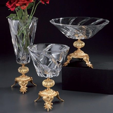 CRYSTAL BOWLS  Art. (1) – Crystal Vase with brass gold plated 24kt, h. cm 44 Art. (2) – Crystal Bowl with brass gold plated 24kt, h. cm 32, diam cm 23 Art. (3) – Crystal Bowl with brass gold plated 24kt, h. cm 26, diam cm 36