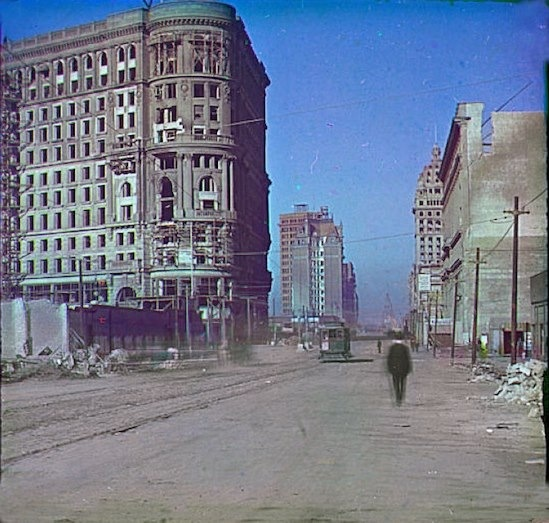 1906, Market street at Powell, six months after the earthquake.