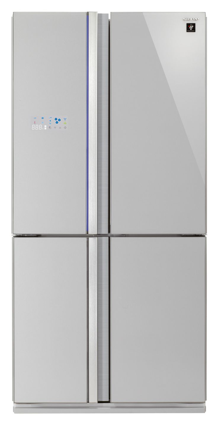 Le molteplici funzioni del frigorifero a 4 porte SJ-FS820VSL di Sharp sono facilmente visualizzabili e controllabili grazie all'avanzato display LCD esterno. Ha volume lordo di 678 litri e sistema di purificazione dell'aria Plasmacluster che riduce in modo efficace sia la formazione di cattivi odori che lo sviluppo di batteri. Il freezer è dotato di scomparto per l'erogazione automatica di cubetti di ghiaccio. In classe A   , misura L 89 x P 76 x h 183 cm. Prezzo: 2.799 euro. www.sharp.it