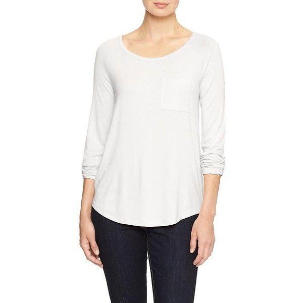 Gap Factory Raglan Long Sleeve Pocket Tee ($15) ❤ liked on Polyvore featuring tops, t-shirts, regular, white, long tee, long white t shirt, long sleeve pocket t shirts, long sleeve tops and long sleeve t shirts