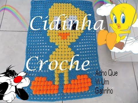 Croche-Tapete Para Quarto De Menino- Piu Piu- Passo A Passo- Parte 1/4 - YouTube