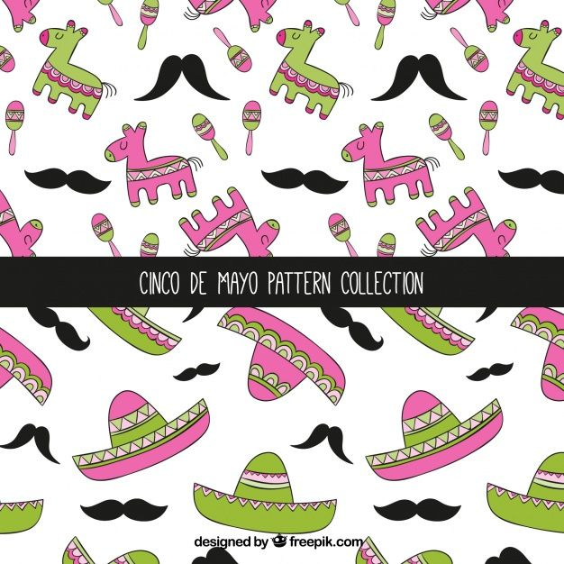 Hand-drawn cinco de mayo patterns with decorative elements Free Vector