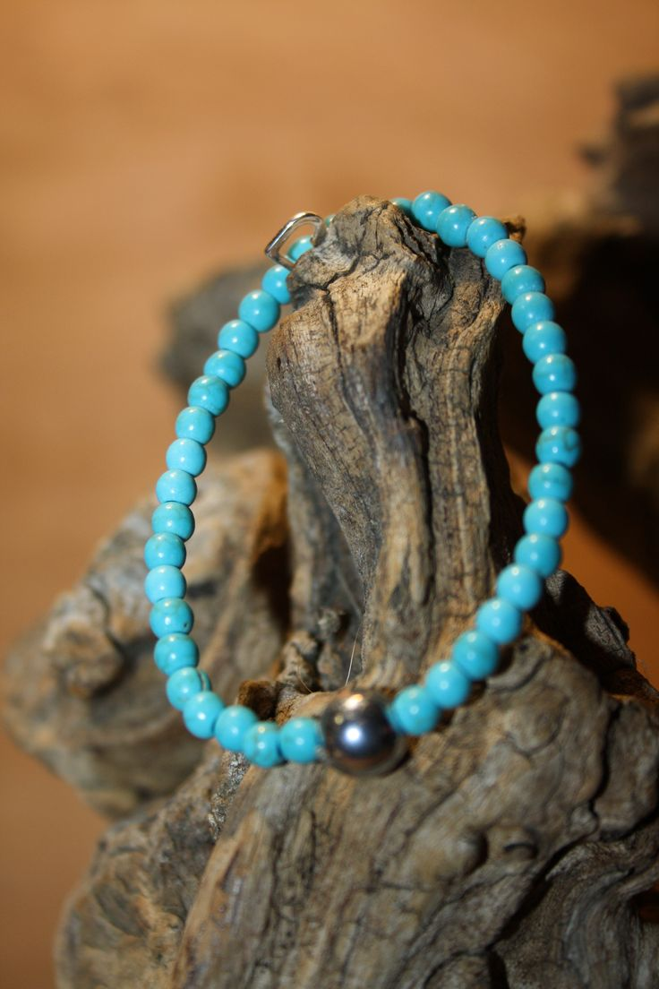 Our take on the classic gemstone bracelet. Sterling Silver clasped bracelet in Turquoise. We have selected this bracelet to link in with the Throat Chakra as the colour blue is associated with this particular Chakra. Wearing blue is thought to sooothe and relax as well as helping creative expression.  www.urbanangelgifts.com