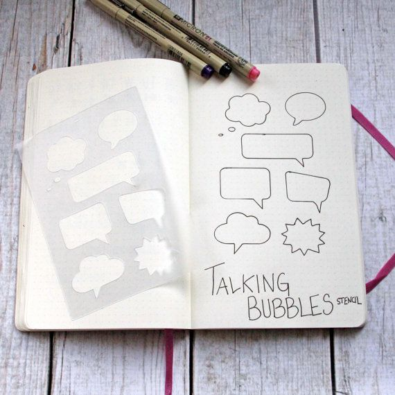 Journal Stencil Talking Bubbles Bullet Journal by Moxiedori