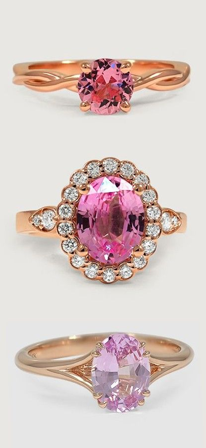 Top and bottom Love these beautiful rings featuring dazzling pink sapphires.