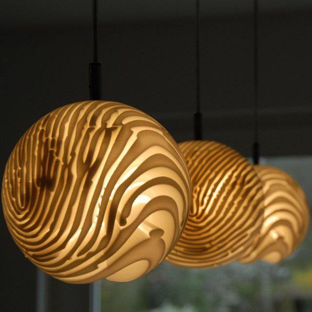 Detail Triple Pendant Lamp (looks like fingerprints or grains in wood, loves it)