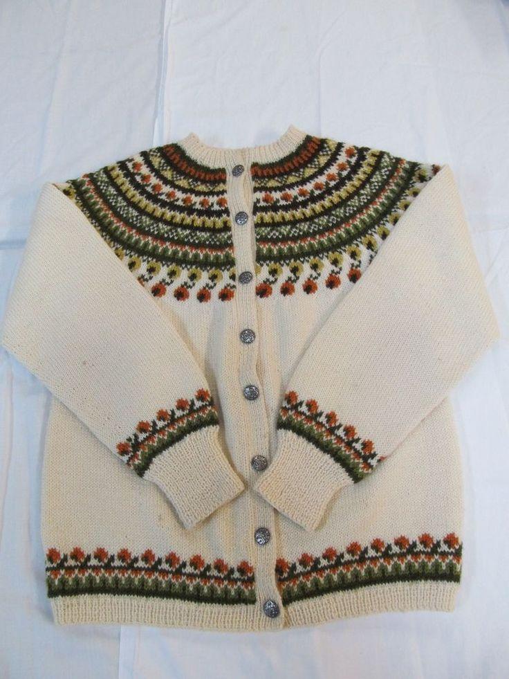 Vtg. SUNDT BERGAN Handmade wool NORWAY SWEATER Metal button size S    H7 #sundt #Sweater