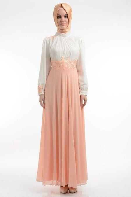 NAYLA COLLECTION - Nayla Collection - Dantel Detaylı Somon Elbise 400SMN