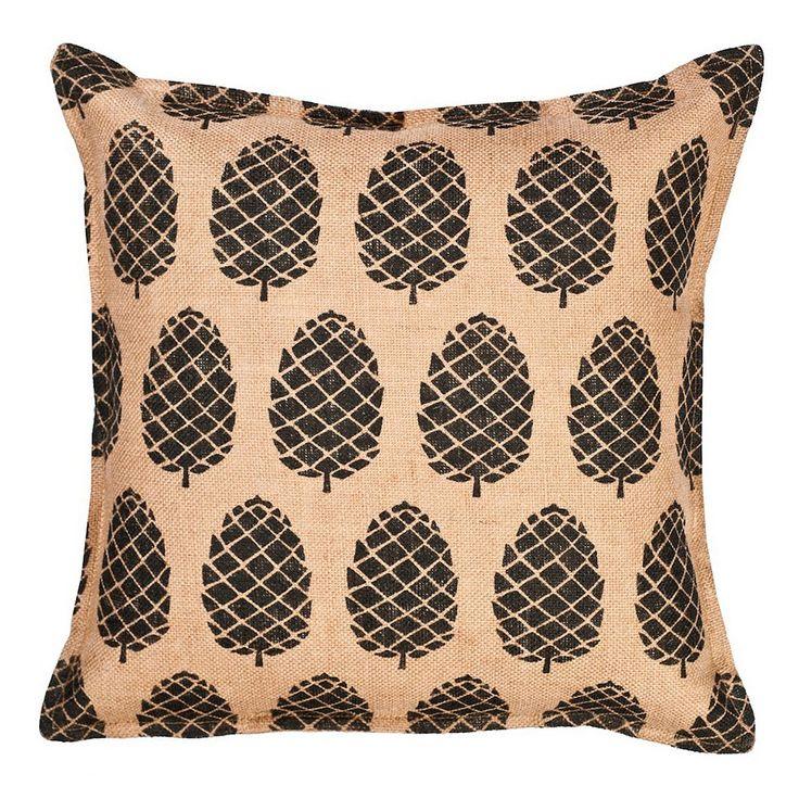 Greendale Home Fashions Pinecone Burlap Throw Pillow, Black