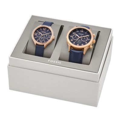 f5b1b71ed42b Sale His Chronograph and Her Multifunction Navy Leather Watch Gift Set  Dressed in navy leather and matching rose gold-tone bezels