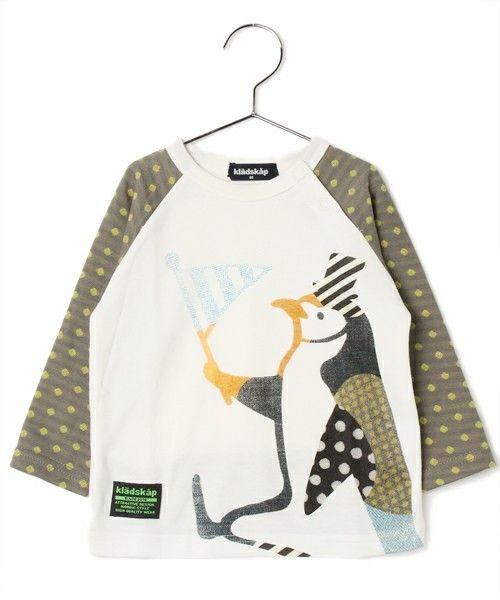kladskap(キッズ)のペンギンプリント長袖Tシャツ(Tシャツ/カットソー)|グレー