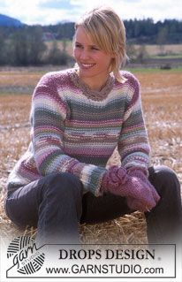 Pullover and crocheted mittens in Eskimo  PULLOVER:    Sizes: S - M - L - XL - XXL