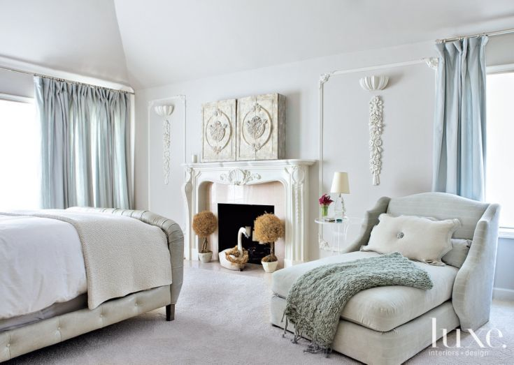 Gray Transitional Bedroom With Fireplace