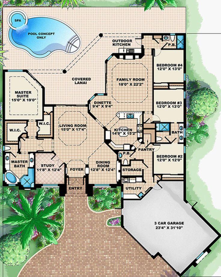 House Plan 1018-00264 - Mediterranean Plan: 3,316 Square ...