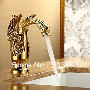 Golden Finish Deck Mount Gilded Sink Mixer Tap Basin Faucet Sink Tap Bath Brass Faucet Vanity Faucet L 193 $68