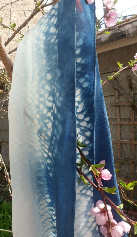Indigo Dyed Silk Scarf
