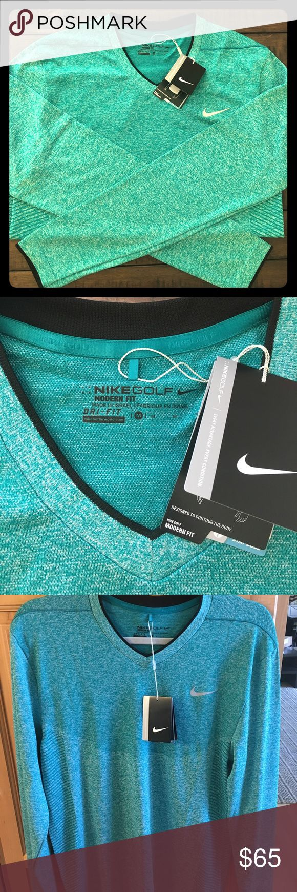 Nike Golf Dri-Fit Long Sleeve Golf shirt Size: Medium Brand new with tags! Nike color code: 351 (camp green). This color is hard to capture but it a brighter green and I would describe as a mix of Teal & Kelly Green. It's a great color! Nike Shirts Tees - Long Sleeve
