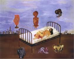 Henry Ford Hosipital shows Frida had suffered a miscarriage in the Henry Ford Hospital in Detroit. In this disturbing work, Kahlo paints herself lying on her back in a hospital bed after a miscarriage.