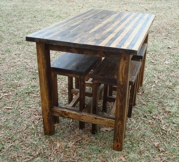 Bar Table and Stools Pub Table Wood Bar by BlueRidgeWoodworking