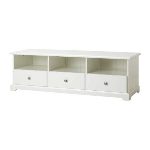IKEA - LIATORP, Mueble TV, blanco, , Cajones de apertura suave con tope para que no se puedan sacar del todo.</t><t>La abertura de la parte trasera es muy práctica para tener los cables recogidos y organizados.