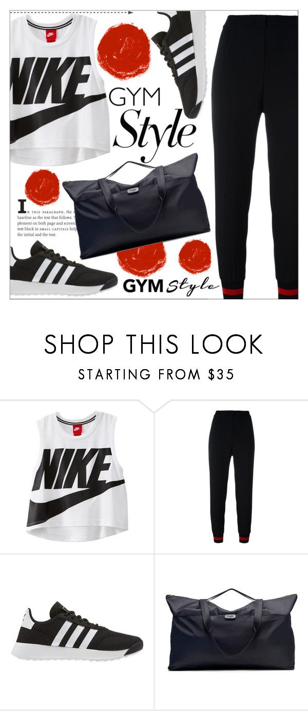 """""""Gym Style"""" by katerin4e-d ❤ liked on Polyvore featuring NIKE, Philipp Plein, adidas, contestentry, polyvorecontest and gymessentials"""