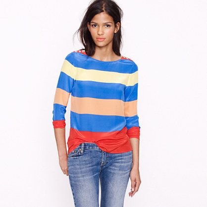 Scoopneck blouse in colorblock stripe - J. Crew