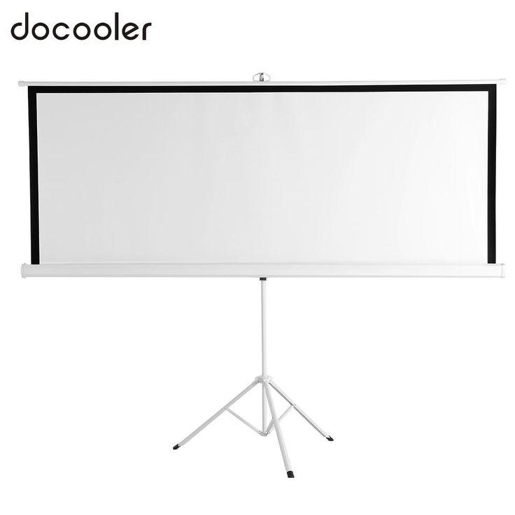 "100-Inch HD Projection Screen Manual Pull Down 100"" Diagonal Aspect Ratio 1:1 Projector Screen  Adjustable Length Tripod US Plug //Price: $167.25//     #electonics"