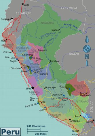 Peru regions map with possible routes for travel (Highways and rivers)