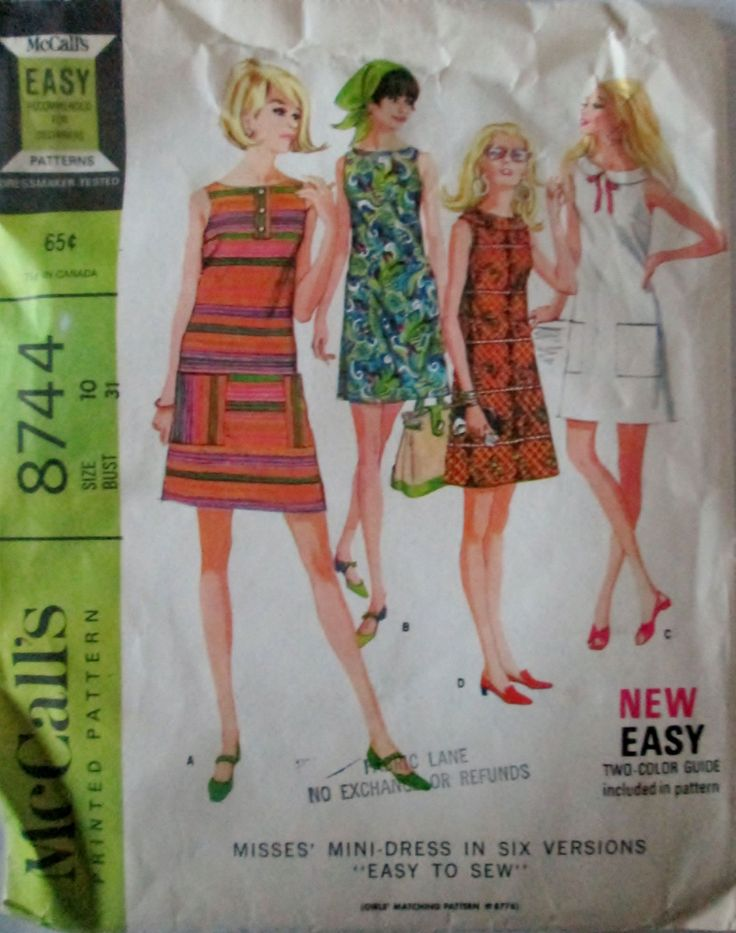 McCalls 8744 Women's 60s Sewing Pattern Mini-Dress in Six Versions Size 10 Bust 31