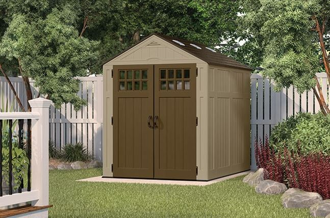 Resin shed - Suncast. Read a full review regarding the range of Suncast sheds. From small patio sheds to super spacious large sheds. Virtually maintenance-free with stunning looks: