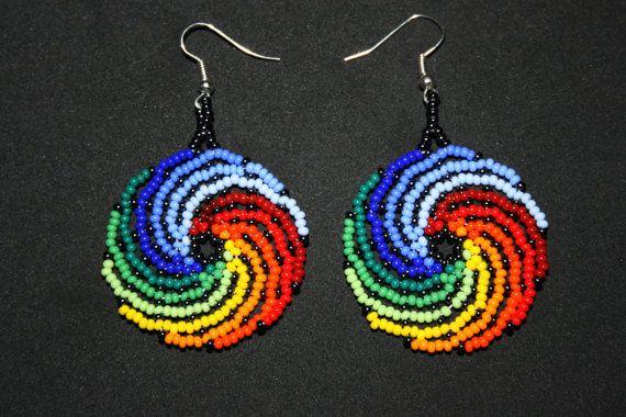 Water and Fire Swirl Earrings, Yin Yang Earrings, Huichol Earrings, Native American Beadwork, Surfer Earrings, Hippie Earrings, Beach Attire
