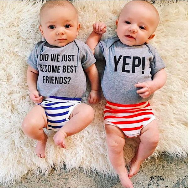 Matching twins best friends baby onesies