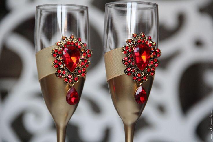 """Купить Свадебные фужеры """"Роскошь"""" - золотой, фужеры, бокалы для свадьбы, бокалы для шампанского"""