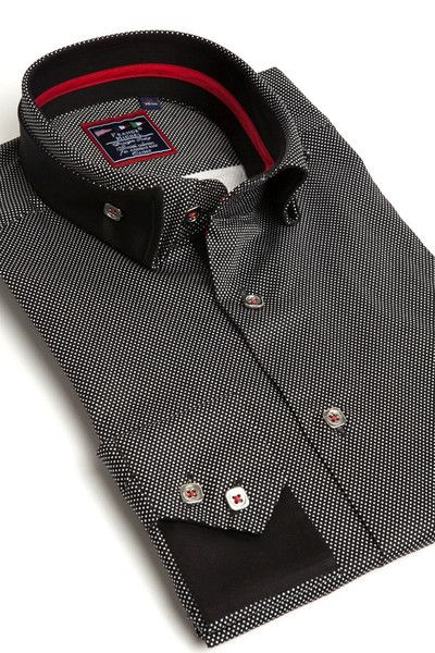 Franck Michel black reverse collar shirts with dots
