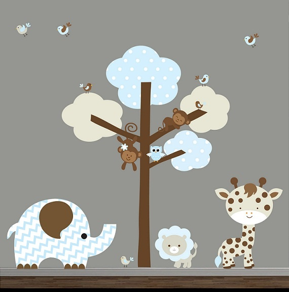 Jungle animal wall decals tree with jungle animals wall decal features leaves monkeys giraffe elephant
