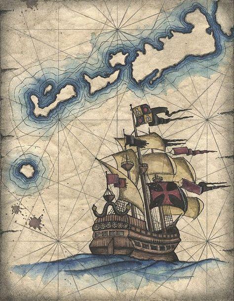 Spanish Galleon Art Print Pirate Ship Drawing, Vintage Ship, Treasure Ship, Pirates, Caribbean, Old Maps and Prints, Sailing Ships, Islands