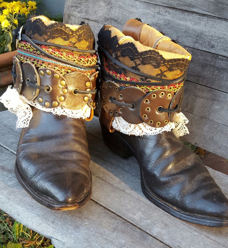 boho boots upcycled reworked boots boho cowboy boots. Black Bedroom Furniture Sets. Home Design Ideas