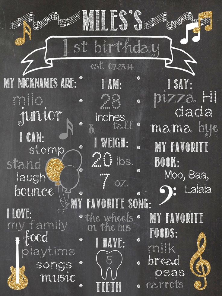 A personal favorite from my Etsy shop https://www.etsy.com/listing/252162705/birthday-chalkboard-print-first-birthday